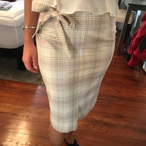 Plaid pencil skirt with tie waist